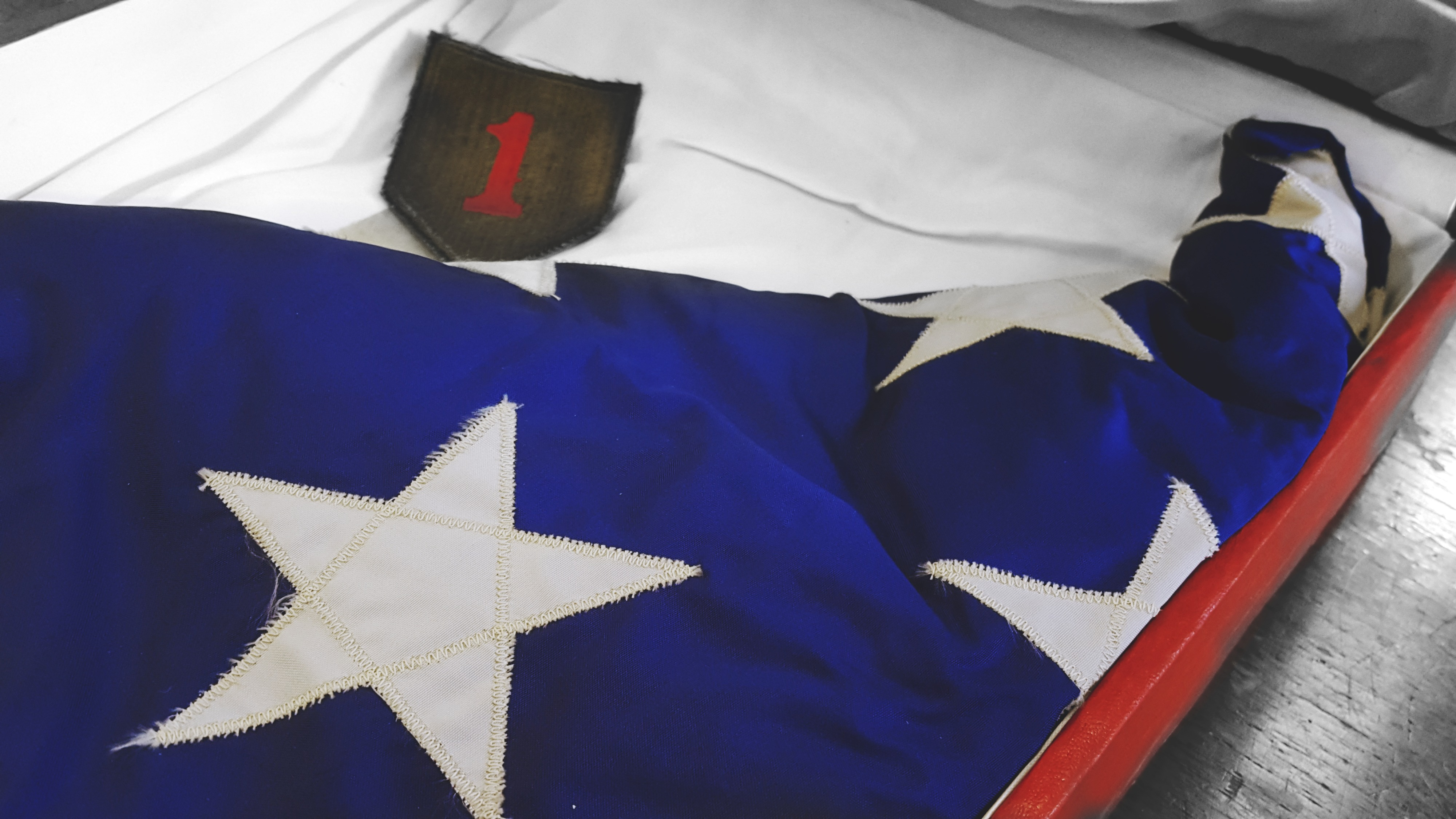 Close-up of First Infantry Flag