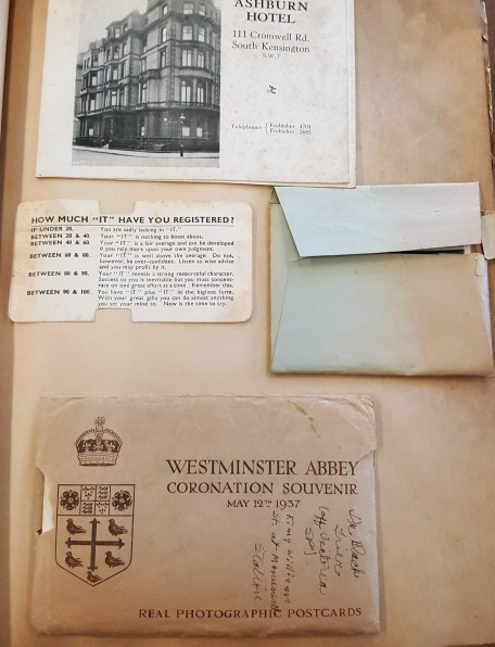 Colledge's scrapbook shows London hotel and souvenirs