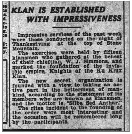 Klan in established on Stone Mountain Nov 1915 Newspaper