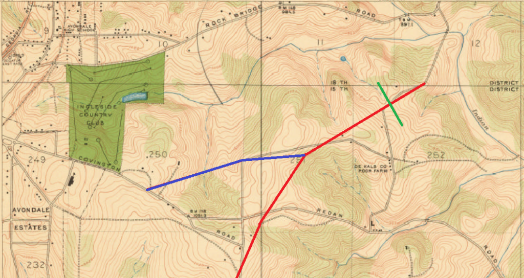 Atlanta Map from 1928. The Avondale extension, colored blue is present day Mountain Drive . The red line is the future Memorial Drive. The Green line is HWY 285. Notice the DeKalb Co Prison farm. The road it sits on is present day Camp Road.