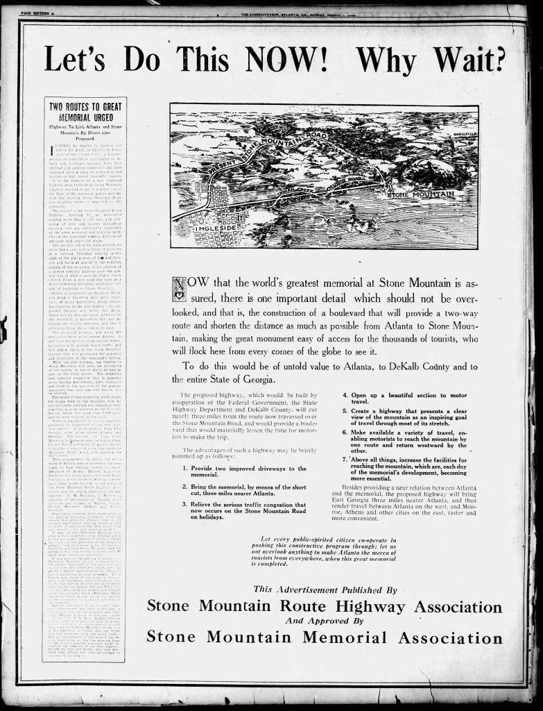Stone Mountain Highway Route Association 1925 full page advertisement in the Atlanta Constitution. Shows Ingleside, Avondale Estates